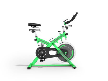 muscular control: Modern sporty treadmill green side view 3d render on white background Stock Photo