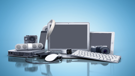 collection of consumer electronics 3D render on blue background Banco de Imagens