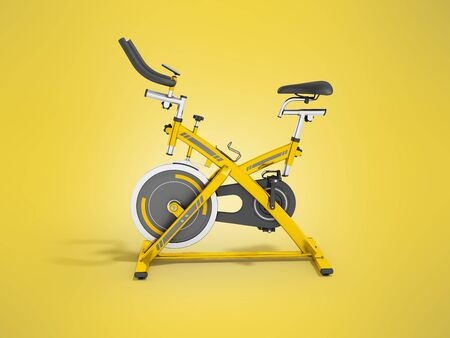 muscular control: Modern sport exercise bike for gym yellow 3d render on yellow background