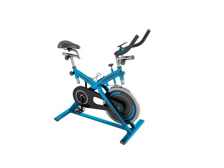 muscular control: A modern exercise bike is a compact version for home use with an electronic length-of-route sensor, a 3D 3d render on a white backgroundno shadow