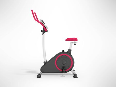 muscular control: Modern exercise bike pink on the left 3d render on a gray background
