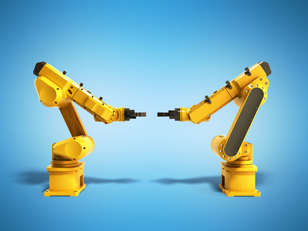 automate: Industrial robots on blue background 3D rendering