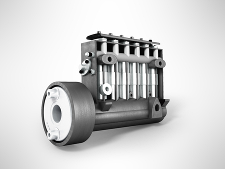 Old high-pressure diesel pump 3d rendering on gray background Stock Photo