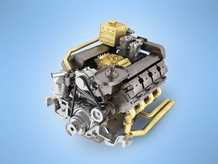The truck engine concept of a modern cargo car engine 3d rendering on a blue background Stock Photo