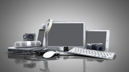 collection of consumer electronics 3D render on grey background