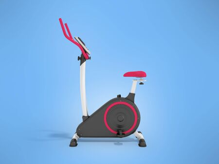 muscular control: Modern exercise bike pink on the left 3d render on a blue background