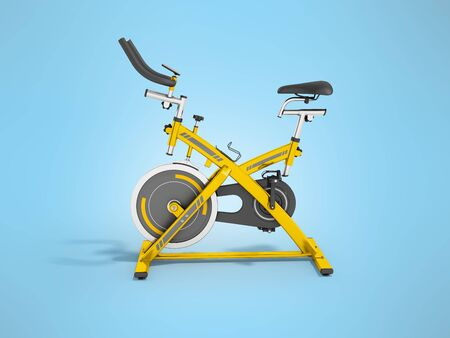 muscular control: Modern sport exercise bike for gym yellow 3d render on blue background Stock Photo