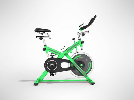 Modern sporty treadmill green side view 3d render on gray background