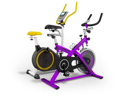 muscular control: Two modern sport exercise bike yellow purple 3d render on white background