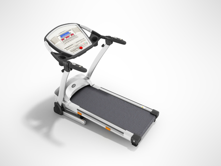 Modern sporty home treadmill for home workouts perspective front 3d render on gray background Stock Photo