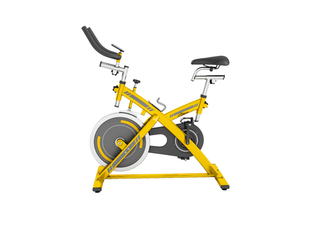 Modern sport exercise bike for gym yellow 3d render on white background no shadow