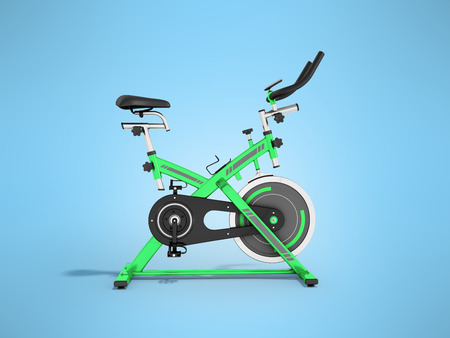 muscular control: Modern sporty treadmill green side view 3d render on blue background