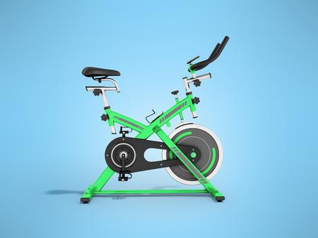 Modern sporty treadmill green side view 3d render on blue background
