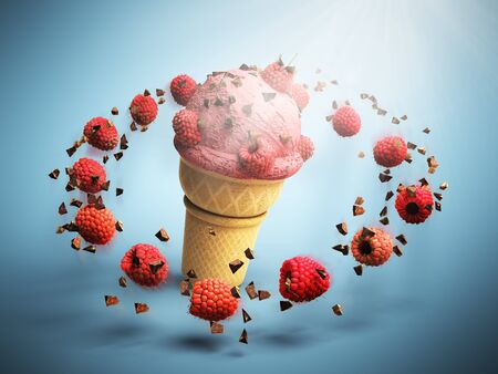 glace: ice cream with raspberries and chocolate crumbs in a waffle cup 3d render on color background