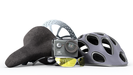 the concept of extreme sports action camera bicycle helmet 3d render on a white background
