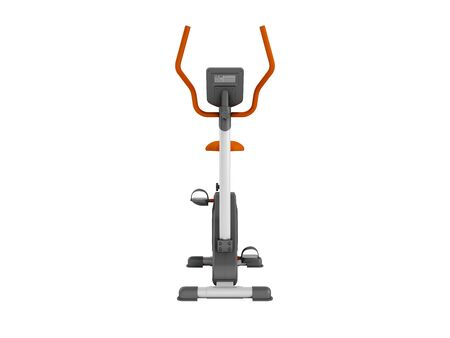 muscular control: Modern sport exercise bike for home use with electronic fitness sensor orange front 3d rendering on white background no shadow