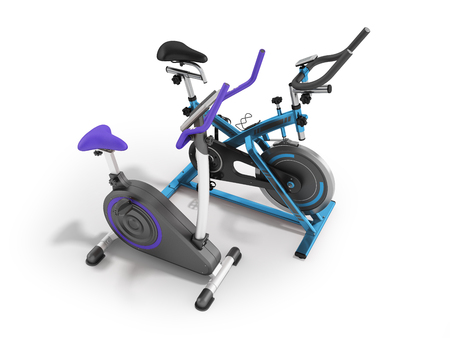muscular control: Two modern sport exercise bikes blue and violet perspective front 3d render on white background