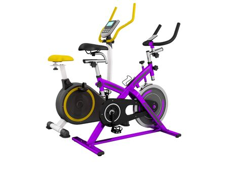 muscular control: Two modern sport exercise bike yellow purple 3d render on white background no shadow