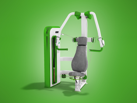 weight machine: Modern sport trainer for strength training for the body green 3D rendering on a green background