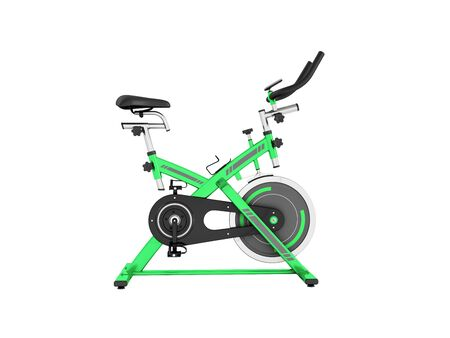 muscular control: Modern sporty treadmill green side view 3d render on white background no shadow Stock Photo