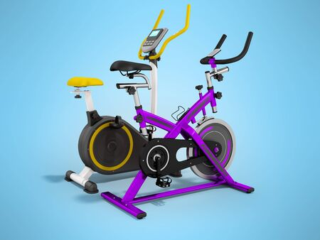 muscular control: Two modern sport exercise bike yellow purple 3d render on blue background
