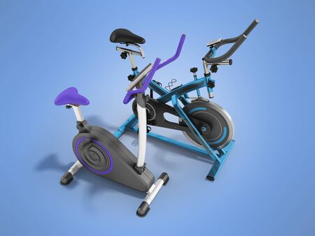 muscular control: Two modern sport exercise bikes blue and violet perspective front 3d render on blue background
