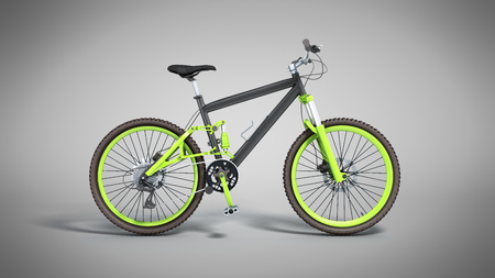 black 29er mountain bike on grey background