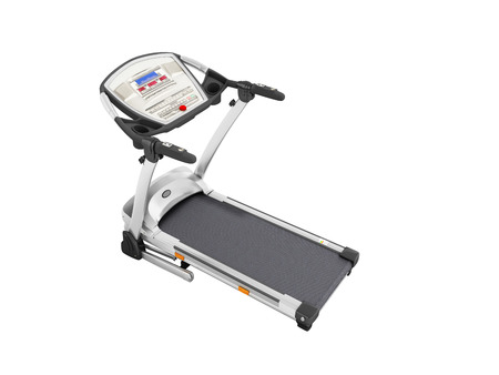 eliptica: Modern sporty home treadmill for home workouts perspective front 3d render on white background no shadow Foto de archivo