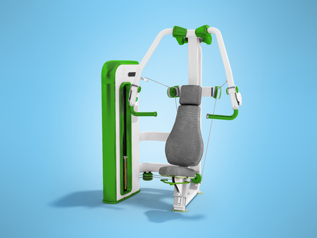 Modern sport trainer for strength training for the body green 3D rendering on a blue background