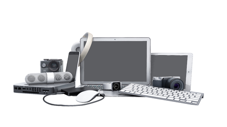 collection of consumer electronics 3D render on white no shadow Stock fotó