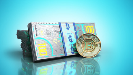 concept of bitcoin banknote and monet virtual money bills 3d render on blue