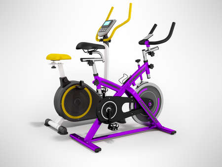 Two modern sport exercise bike yellow purple 3d render on gray background