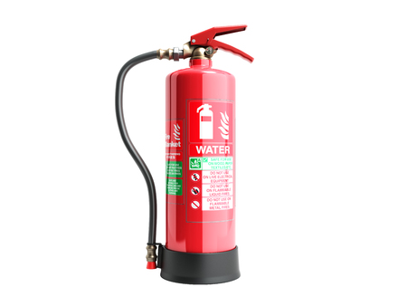 Water Fire extinguisher 3d render on white background no shadow