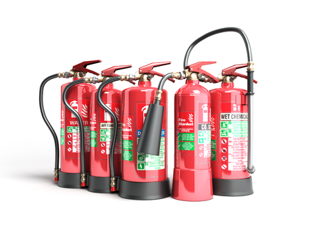 suppression: Fire extinguishers isolated on white background Various types of extinguishers 3d illustration