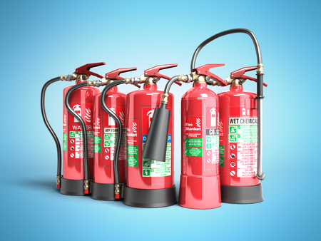 Fire extinguishers isolated on blue background Various types of extinguishers 3d illustration