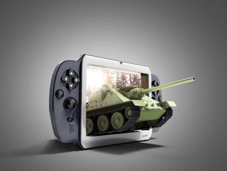 탱크 게임의 개념 탱크는 gamepad의 화면을 떠나 회색에 3d 렌더링