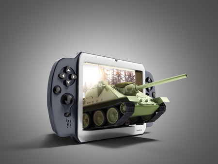 concept of tank games The tank leaves the screen of the gamepad 3d render on grey Stok Fotoğraf - 89118525