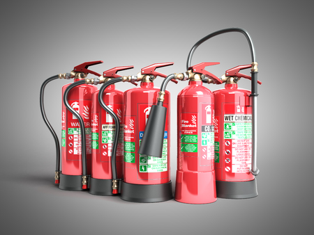 Fire extinguishers isolated on grey background Various types of extinguishers 3d illustration