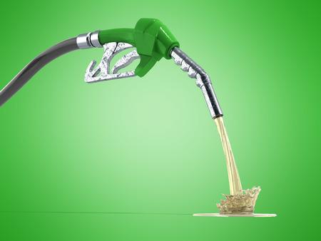 eco Brandstof concept mondstuk pomp met slang 3d render op groene achtergrond