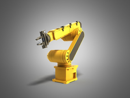 automate: Industrial robot on grey background 3D rendering