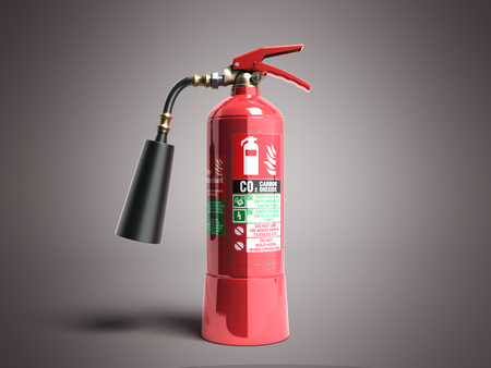 Carbon Dioxide Fire extinguisher 3d render on grey background Stock Photo