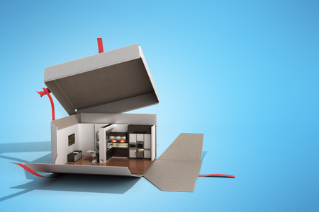 Concept apartment as a gift Kitchen interior in an open box 3d render on blue