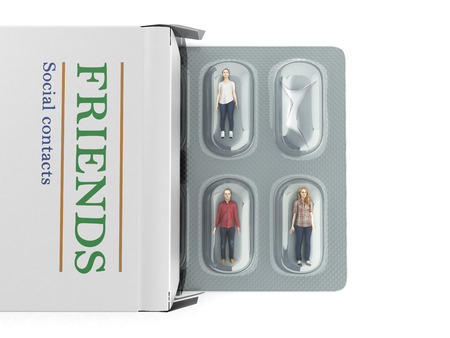 the concept of social problems people instead of pills in the package 3d render on white Фото со стока - 89770838