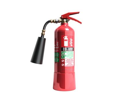 白の炭酸ガス消火器 3 d のレンダリングにシャドウを背景ないです。 写真素材