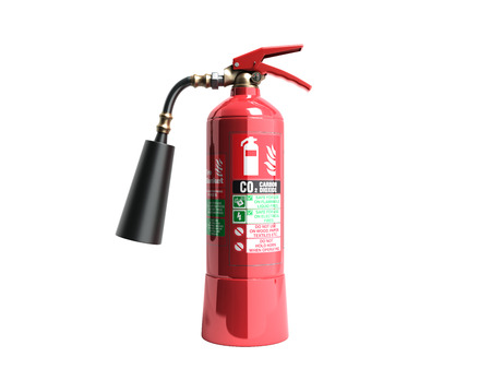 Carbon Dioxide Fire extinguisher 3d render on white background no shadow