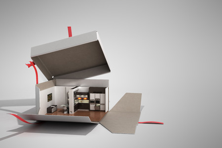 Concept apartment as a gift Kitchen interior in an open box 3d render on grey Reklamní fotografie