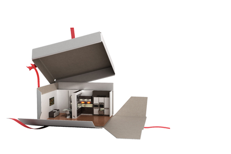 Concept apartment as a gift Kitchen interior in an open box 3d render on white no shadow