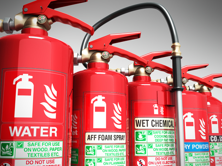 Fire extinguishers isolated on grey background Various types of extinguishers 3d illustration Reklamní fotografie - 89967633