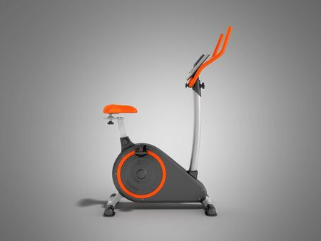 modern sport exercise bike yellow purple 3d render on grey background