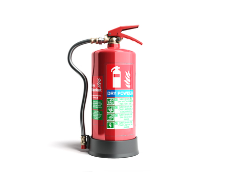 Dry power Fire extinguisher 3d render on white background